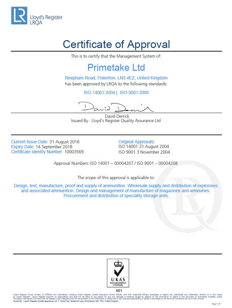 LRQA Certificate of Approval